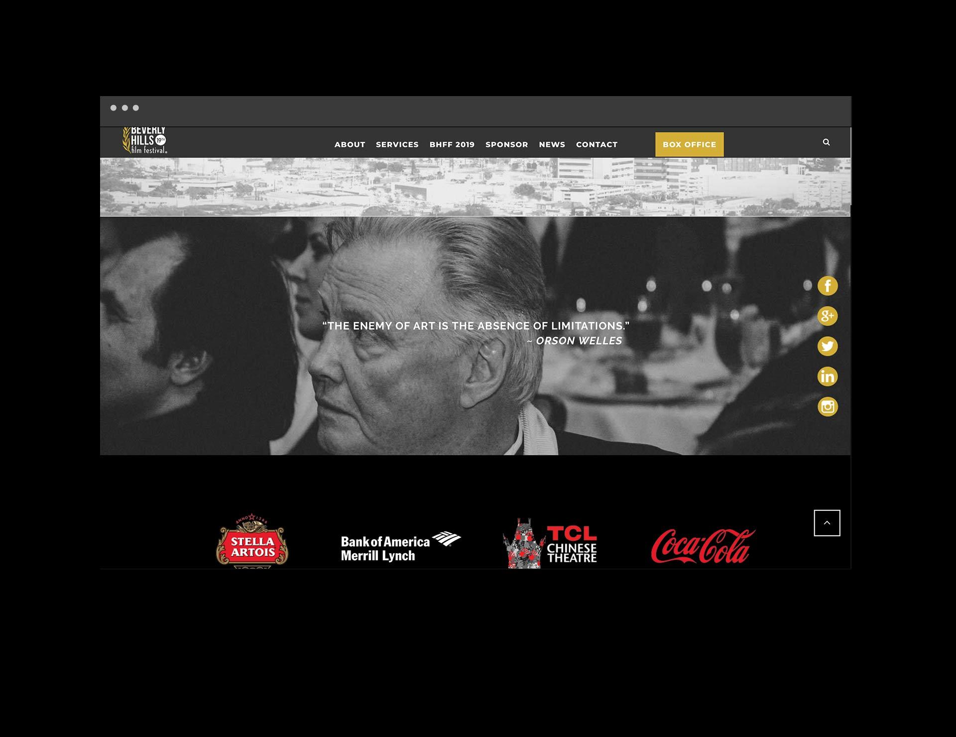 Beverly Hills Film Festival Web layout