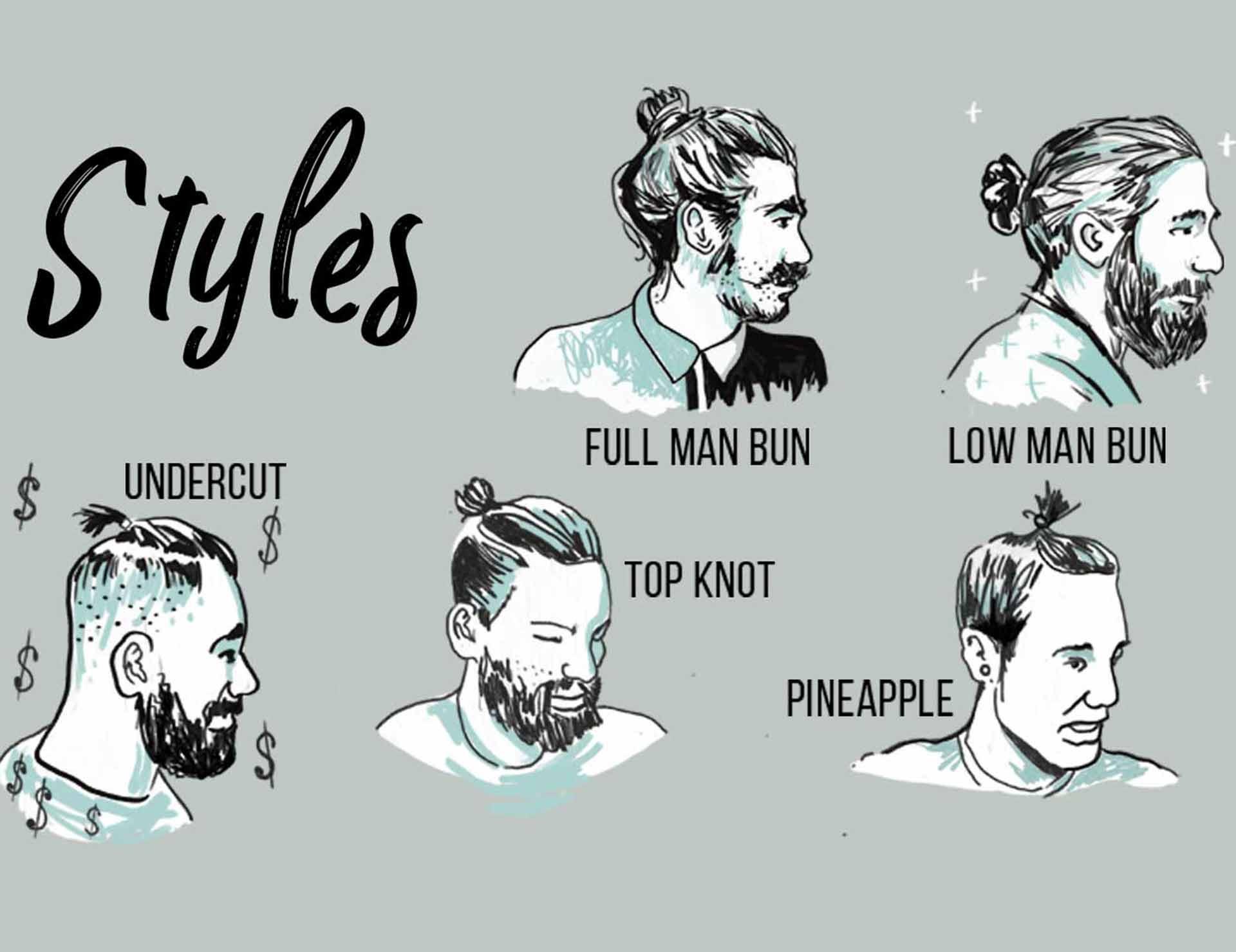 Maxs Man Bun Ties styles illustration